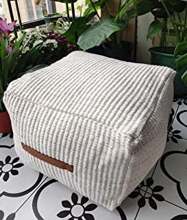 RISEON Boho Hand Woven Contemporary Cotton Linen Fabric Pouf Cover Footstool Ottoman Poufs Unstuffed-Square Floor Cushion Footrest  Cover for Living Room, Bedroom and Under Desk (Beige)