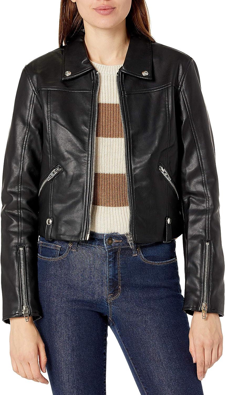 [BLANKNYC] womens [Blanknyc] Cropped Moto Vegan Leather Jacket With Zipper Pocket Detail