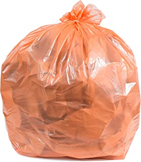 Plasticplace Orange 31-33 Gallon Trash Bags, 100 / Case 1.5 Mil
