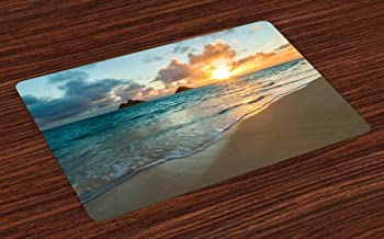 Lunarable Hawaiian Place Mats Set of 4, Scenic Sunrise Over Ocean Rocks Sand Clouds Sunshine Tide Sunbeam Seashore, Washable Fabric Placemats for Dining Table, Standard Size, Turquoise Yellow