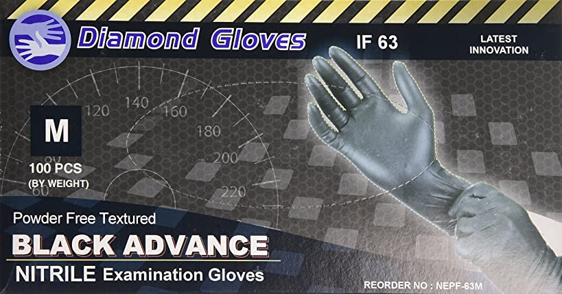 Diamond Gloves Black Advance Nitrile Examination Powder-Free Gloves, 6.3 mil, Heavy Duty, Medical Grade, Medium, 100 Count