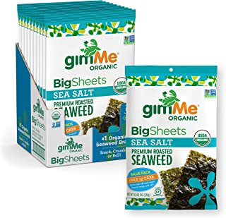 gimMe Snacks - Organic Roasted Seaweed - Sea Salt - (.92oz) - (Pack of 10) - non GMO, Gluten Free - Healthy on-the-go snac...