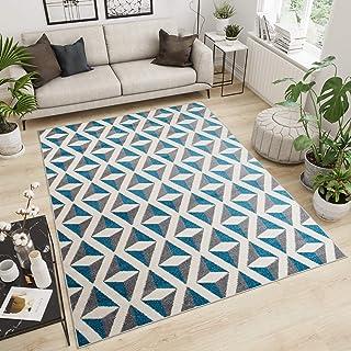 Tapiso Maroko Alfombra de Salón Sala Comedor Diseño Moderno Azul Gris Blanco Geométrico Mosaico Fina 60 x 100 cm