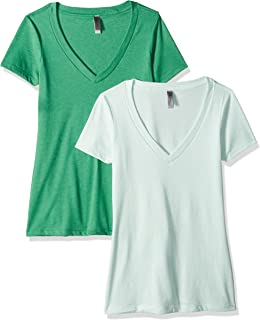 Clementine Apparel Women's Casual T Shirt Comfy Short Sleeve Pull Over Basic V Neck Top Tee 2PK (6640)