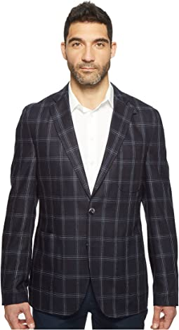 White Modern Fit Two-Button Traveler Blazer