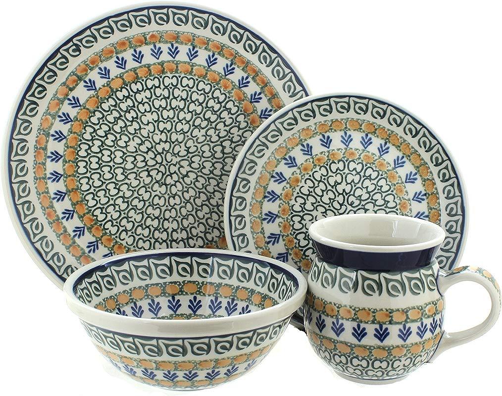 Polish Pottery Herb Garden 4 Piece Dinner Set