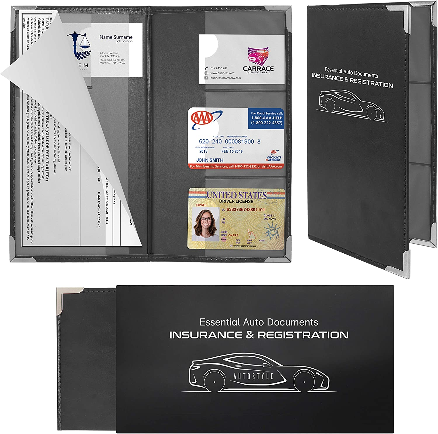 Autostyle 20 Pack Corner Guard Insurance Card and Registration Document  Holders   Premium Wallet with Magnetic Closure Black