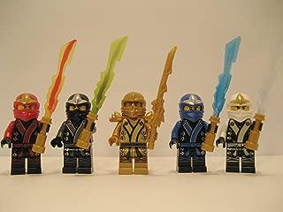 New 2013 Lego Ninjago Kimono Ninja's - Set of 5 - (Loose) From Original Packaging - Cole, Jay, Kai, Golden Lloyd, & Zane w/ All 4 Elemental Blades