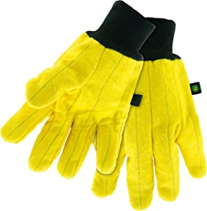West Chester John Deere JD61800 Premium Gold Chore Gloves – [1 PAIR] X-Large, Knit Wrist, Clute Cut, Wing Thumb, Nap Out, Yellow