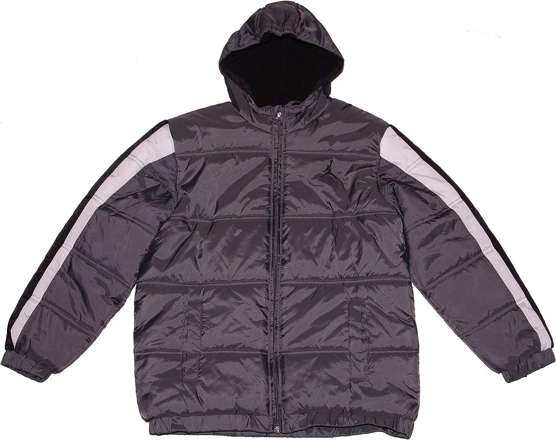 Nike Air Jordan Jumpman Big Boys' Puffer Jacket (Large, Grey/Black/White)