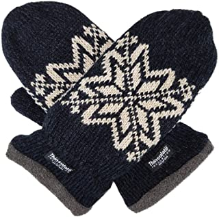 aec7c5f9df1 Bruceriver Mens Snowflake Knit Mittens with Warm Thinsulate Fleece Lining