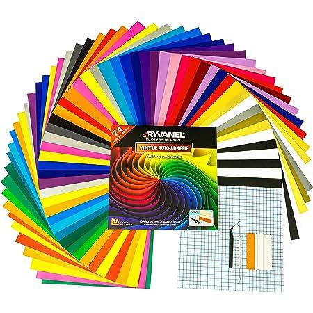RYVANEL® Pack 74 - 64 feuilles en vinyle adhésif pour cricut (12''x 12'') +10 feuilles de transfert + Ensemble complet d'outils de désherbage – Idéal pour tous vos projets CRAFT et DIY (38 couleurs)