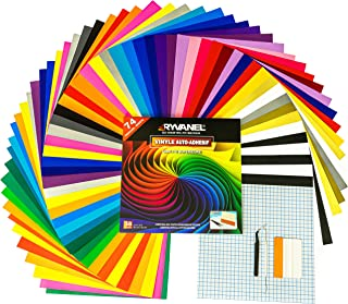 RYVANEL® Pack 74 - 64 feuilles en vinyle adhésif pour cricut (12''x 12'') +10 feuilles de transfert + Ensemble complet d'o...