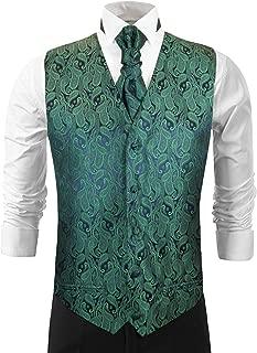 Emerald Green Paisley Wedding Vest with Tie Cravat, Pocket Square ad Cufflinks