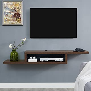 Martin Furniture Asymmetrical Floating Wall Mounted TV Console, 60inch, Columbian Walnut -