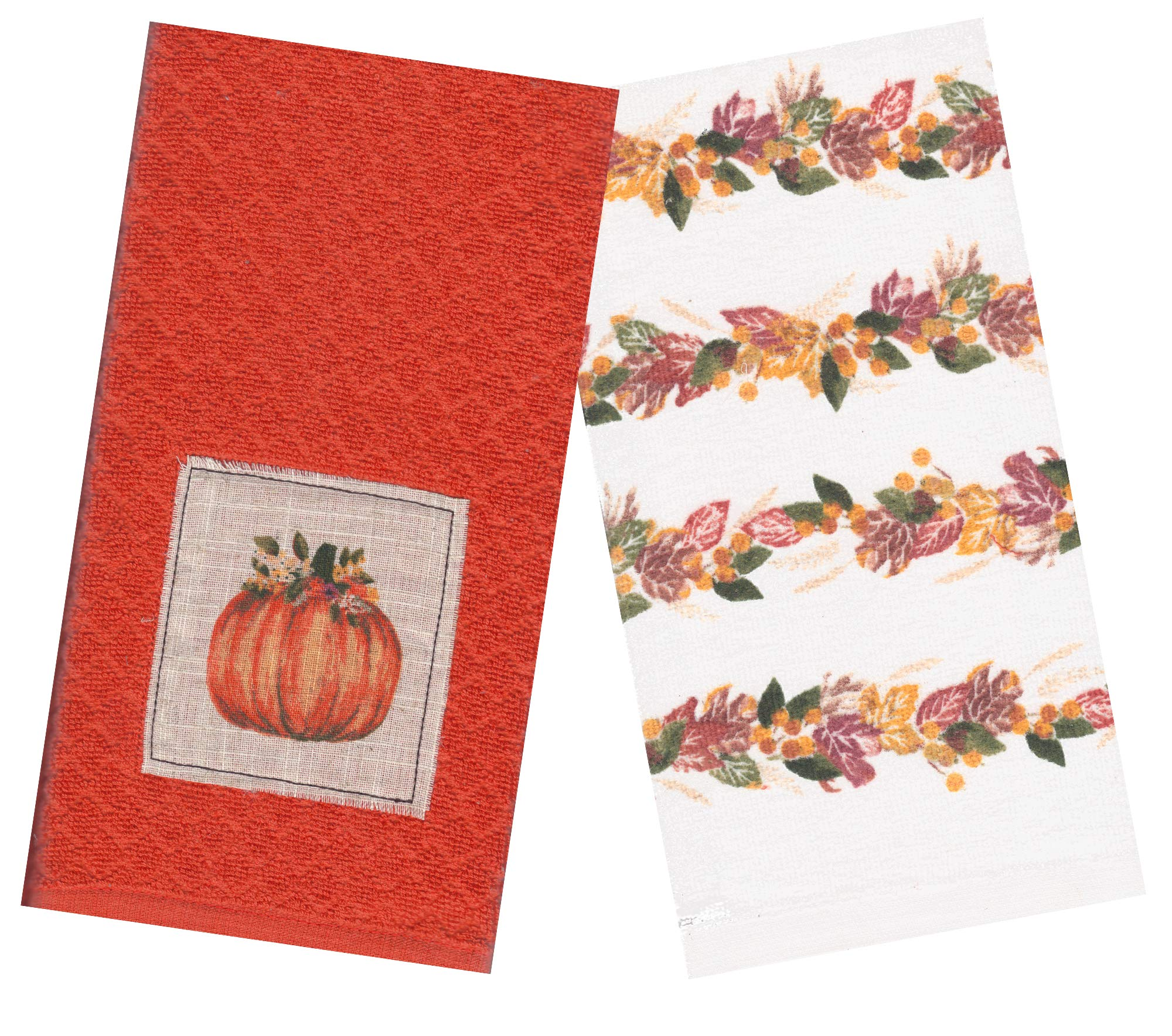 Celebrate Fall Kitchen Towel Set Orange Pumpkin And Autumn Leaves Designs 16 5 X 26 Inches Cotton Fabric Dish Towels For Harvest And Thanksgiving Buy Online In India At Desertcart In Productid 164778745