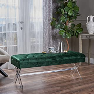Christopher Knight Home Eclectic Tufted Emerald Velvet Ottoman with Clear Acrylic Legs