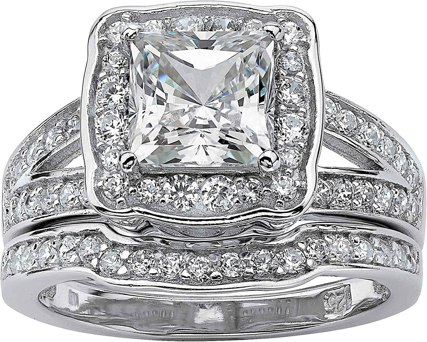 Platinum over Sterling Silver Princess 2 Cut sold out Piec Zirconia Product Cubic