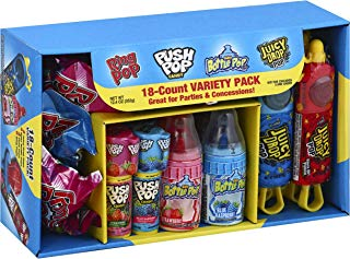 Bazooka Candy Brands, Halloween Lollipop Variety Pack w/ Assorted Flavors of Ring Pop, Push Pop, Baby Bottle Pop, and Juicy Drop Pop (18Count Box)
