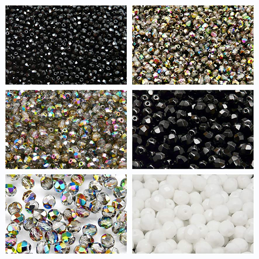 Czech Fire-Polished Glass Beads Round 3mm, 4mm, 6mm, 8mm, Three colors. Set 3CFP 003 (3FP001 3FP003 4FP003 6FP001 6FP003 8FP025)