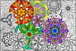 """Mandala Madness - Giant Wall Size Coloring Poster - 32.5"""" X 22"""" (Great for Kids, Adults, Classrooms, Care Facilities and Families!)"""