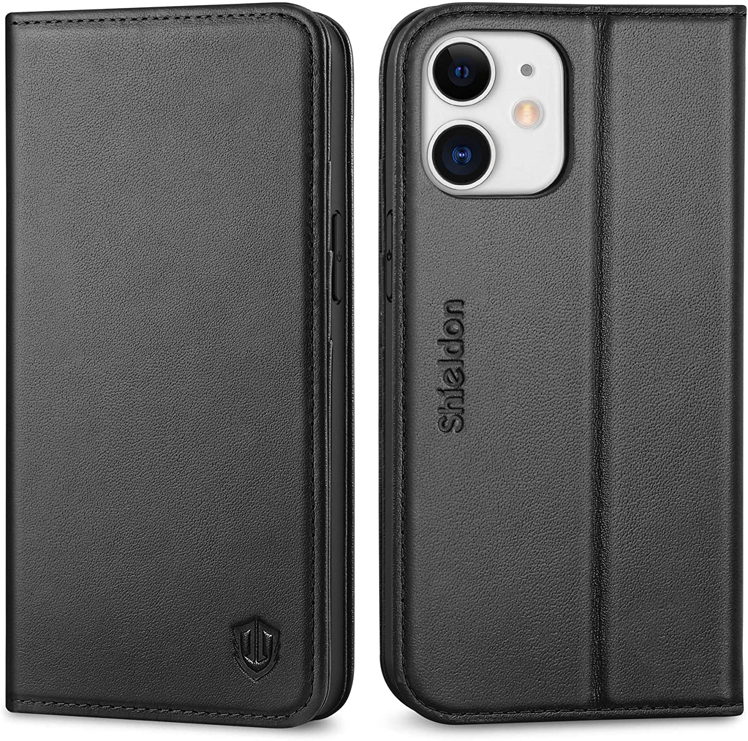 SHIELDON Case for iPhone 12 Mini 5G Genuine Leather Wallet Flip Magnetic Cover RFID Blocking Credit Card Holder Kickstand TPU Shockproof Case Compatible with iPhone 12 Mini 5G (5.4 Inch, 2020) - Black