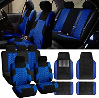 FH Group FB071115 Complete Set Travel Master Seat Covers Airbag Ready & Rear Split with F14407 Premium Carpet Floor Mats Blue/Black- Fit Most Car, Truck, SUV, or Van