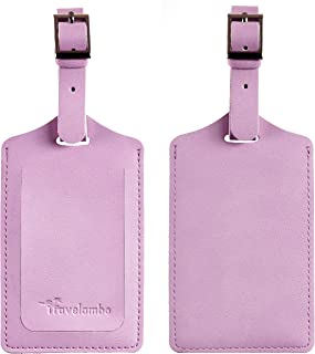 Travelambo Leather Luggage Bag Tags (Purple 5002 Pinky Purple)