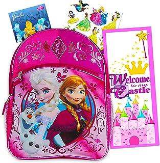 """Disney Frozen Backpack for Girls Bundle ~ Deluxe 16"""" Frozen Backpack with Bonus Stickers and Door Hanger (Disney Frozen School Supplies)"""