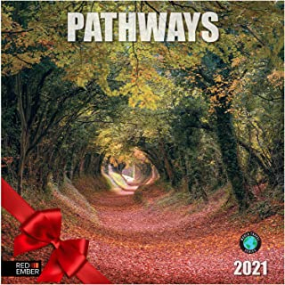 """Pathways - 2021 Wall Calendars by Red Ember Press - 12"""" x 24"""" When Open - Thick & Sturdy Paper - Beautiful Natural Pathways"""