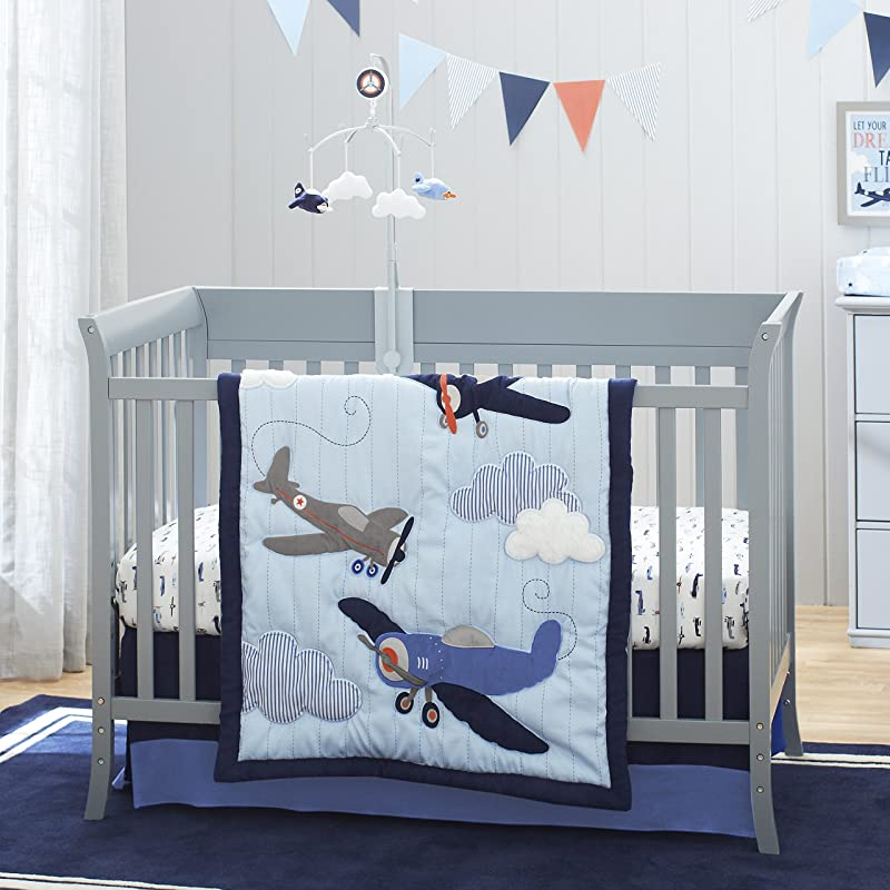 Carter S Take Flight Airplane Cloud Star 4 Piece Nursery Crib Bedding Set Blue Navy Grey Orange