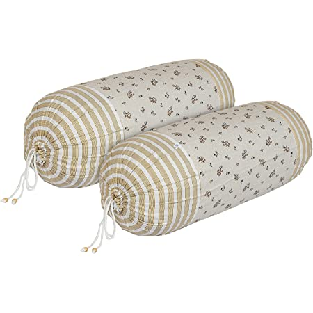 Heart Home Leaf Design Premium Cotton Bolster Covers, 16 x 30 inch, Set of 2 (Cream), Standard (HS_37_HEARTH019994)