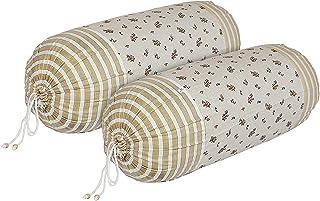 Heart Home Leaf Design Premium Cotton Bolster Covers, 16 x 30 inch, Set of 2 (Cream)