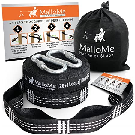 MalloMe XL Hammock Straps - Hammock Tree Straps Set 2000+ LBS Heavy Duty 40 Loops & 100% No Stretch Suspension System Kit - Camping Hammock Accessories   2 Carabiners   12 Feet