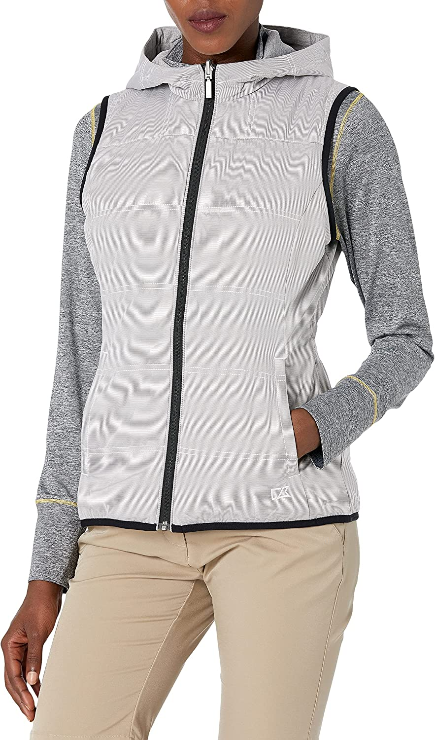 Cutter & Buck Women's Stripe Cora Layerable Reversible Hooded Vest with Pockets
