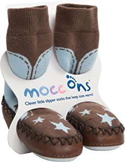 Mocc Ons Cute Moccasin Style Slipper Socks, Cowboy - 12-18 Months