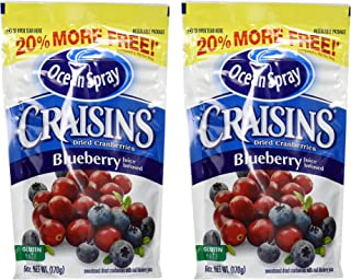 Ocean Spray Craisins - Dried Cranberries - Blueberry Juice Infused - Net Wt. 6 OZ (170 g) Per Package - Pack of 2 Packages