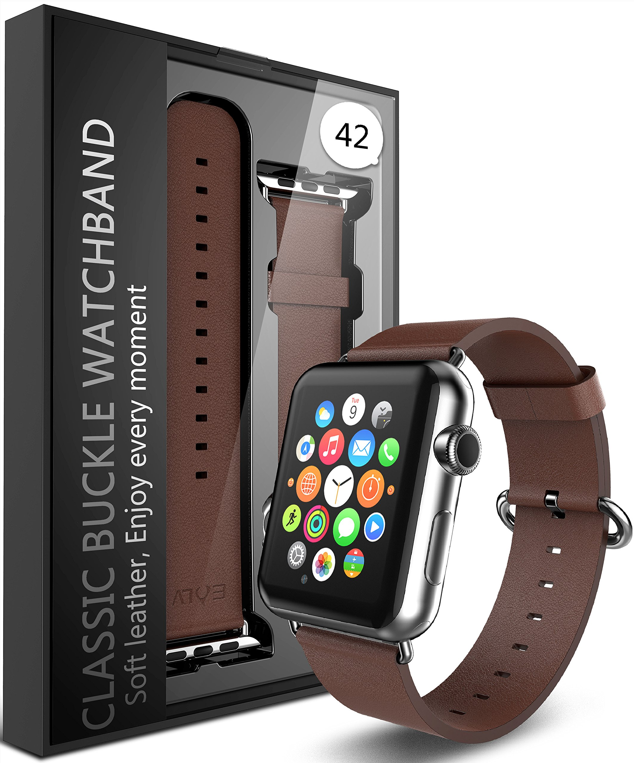 E LV Watch Leather Strap Band with Adapter for Apple Watch 42mm - Brown