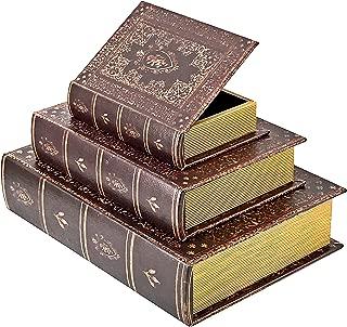 Bellaa 28199 Book Box Secret Storage Stash Designed Wood Flux Leather