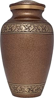 Liliane Memorials Brown and Gold Funeral Cremation Urn Treviso Model in Brass for Human Ashes; Suitable for Cemetery Burial; Large Size Fits Remains of Adults up to 200 lbs, Large/200 lb,