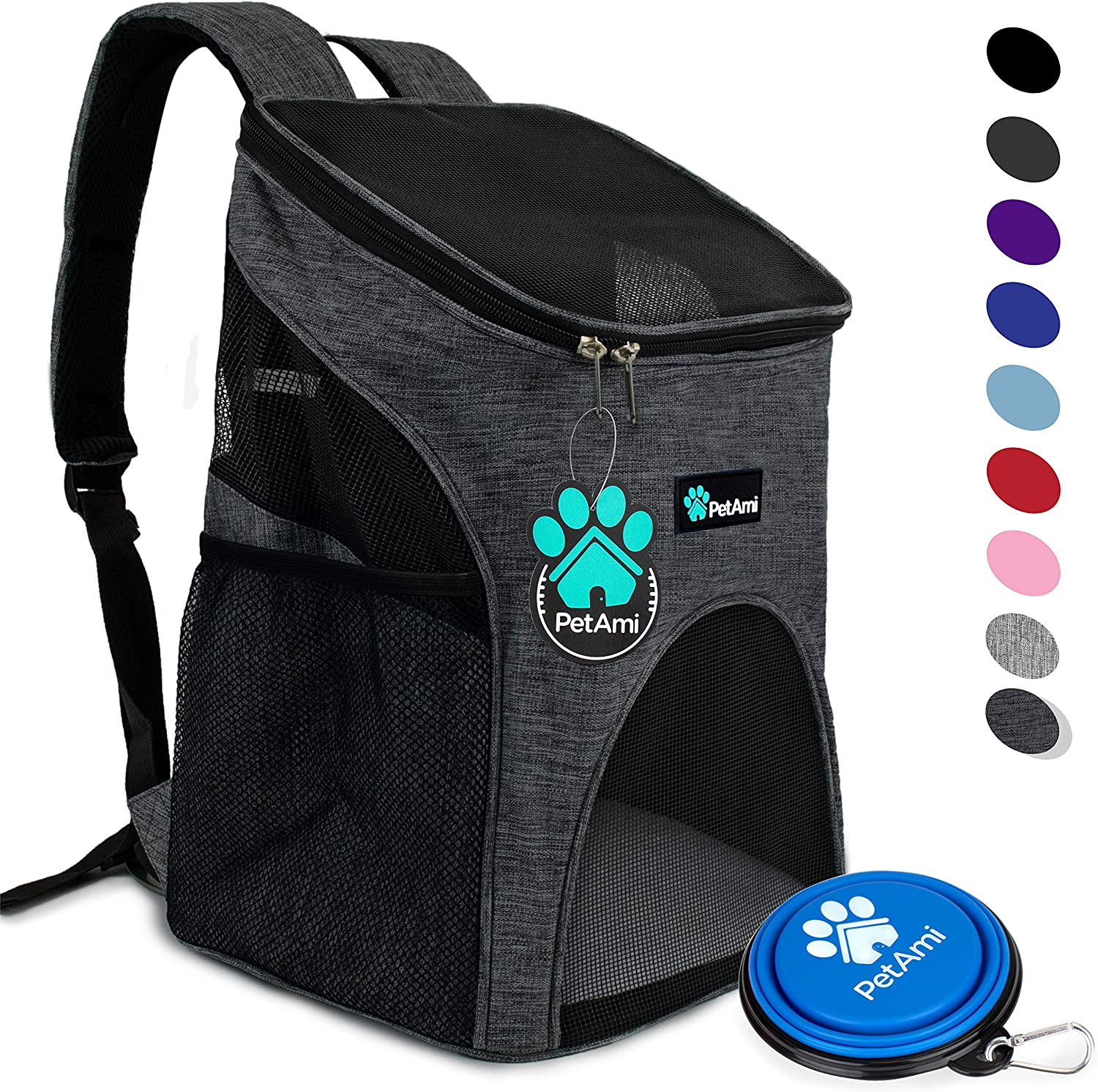 PetAmi Premium Pet Carrier Backpack for Small Cats and Dogs   Ventilated Design, Safety Strap, Buckle Support   Designed for Travel, Hiking & Outdoor Use (Charcoal)