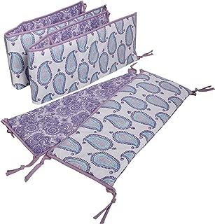 Bacati - Paisley Crib Protection (Lilac/Purple/Aqua, 4-Piece Crib Bumper Pad)
