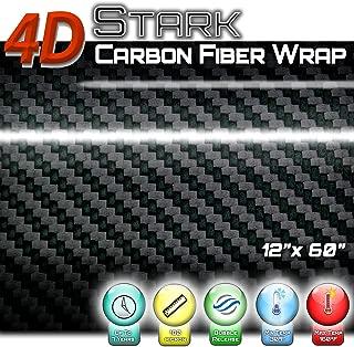 4D Black Carbon Fiber Vinyl Wrap Sticker Air Release Bubble Free Anti-Wrinkle 1 x 5 FT Feet / 12