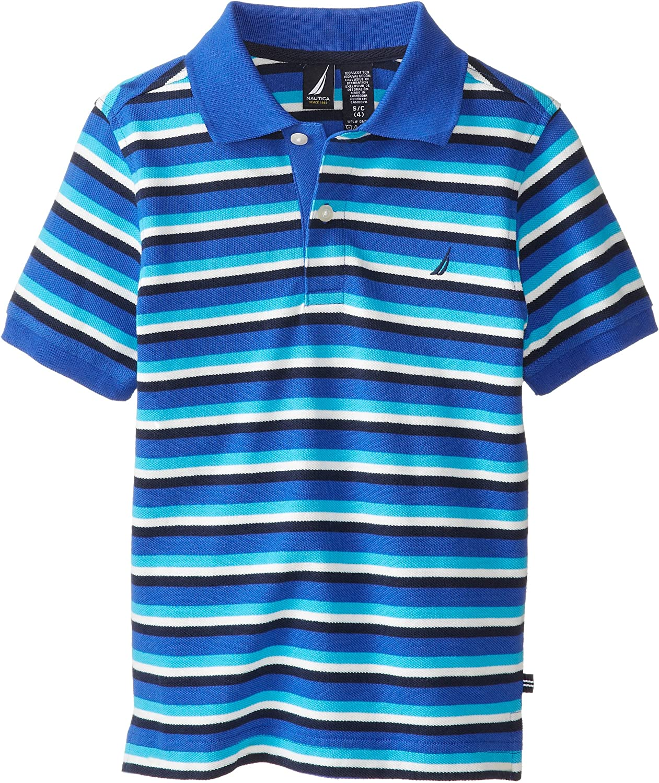 Nautica Boys' Short Sleeve Thin Stripe Polo Shirt