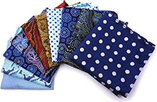 AVANTMEN 10 Pcs Men's Pocket Squares Set Assorted Woven Handkerchief