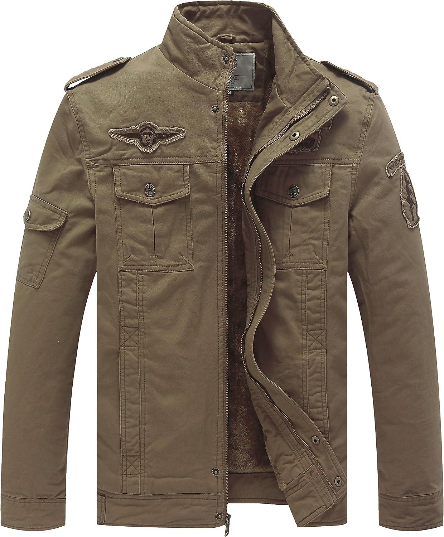 WenVen Men's Winter Warm Fleece Jacket Thicken Cotton Military Windbreaker