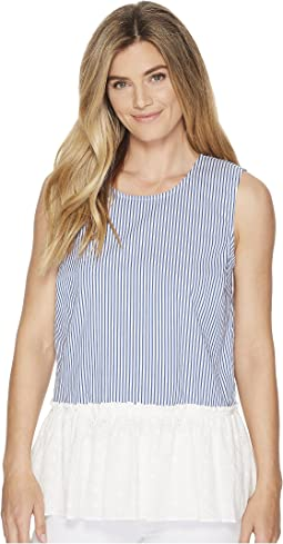 Woven Sleeveless Striped Peplum