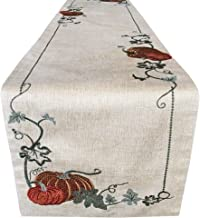 """Lintex Cottage Pumpkin Vine Embroidered Thanksgiving and Fall Harvest Fabric Table Runner - Pumpkin Orchard Embroidered Kitchen and Dining Room Table Runner, 72"""" Long Table Runner"""