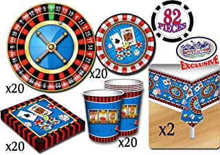 Deluxe Casino Night Theme Party Supplies Pack for 20 People, Includes 20 Large Plates, 20 Small Plates, 20 Napkins, 20 Cups & 2 Table Covers - Perfect for Casino Night or Birthday (82 Pieces Total)