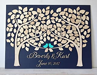 LOVE NILE Wedding Guest Book Alternative 3D Guestbook Wood Tree of Hearts Two Trees Grow Into One Navy Blue Wedding Decor Rustic Guest Book